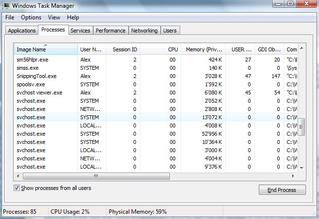 why are there so many svchost.exe in task manager