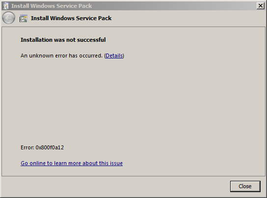 Observations for Windows 7 Service Pack 1 Error 0x800f0a12