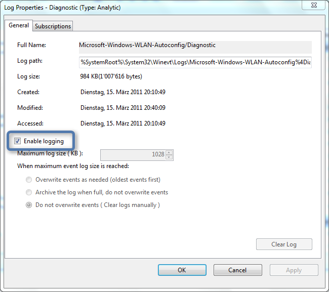Using the Windows 7 Event log to check WLAN Link Quality