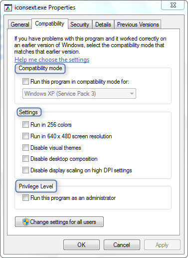 Running an Application as Administrator or in Compatibility