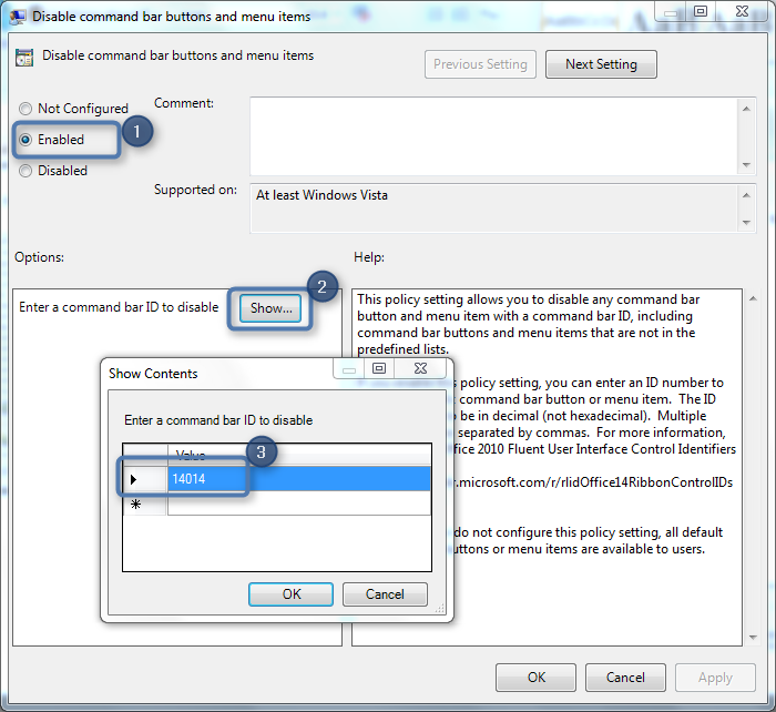 How to disable Office Ribbon Items using Group Policy