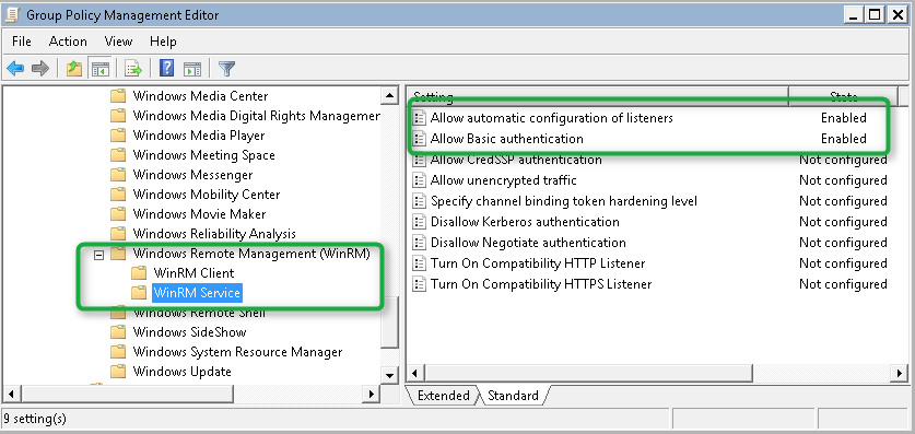Enable Windows Remote Management through Group Policy