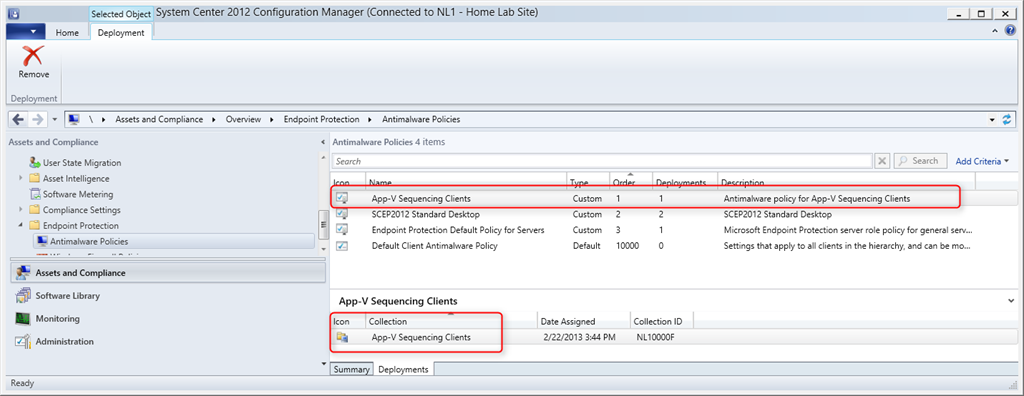 How to create a custom antimalware policy in SCCM 2012 for your App