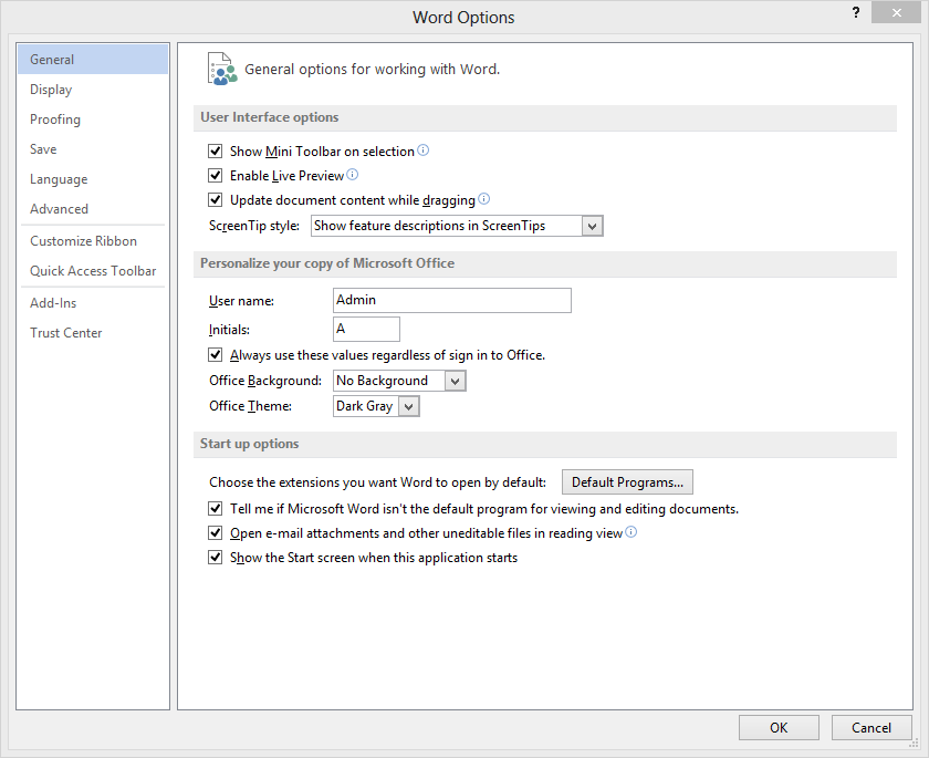 default font word group policy