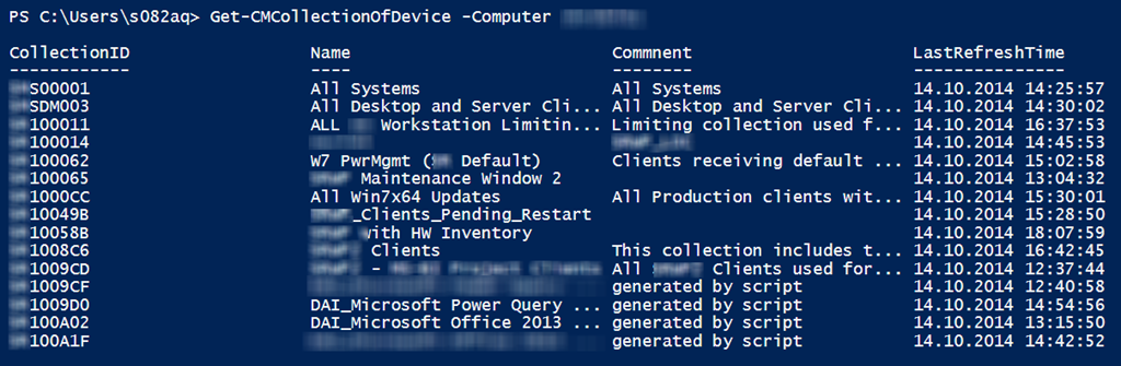 d53e6f6f9c95 Use PowerShell to find all collections where the specified device has a  membership