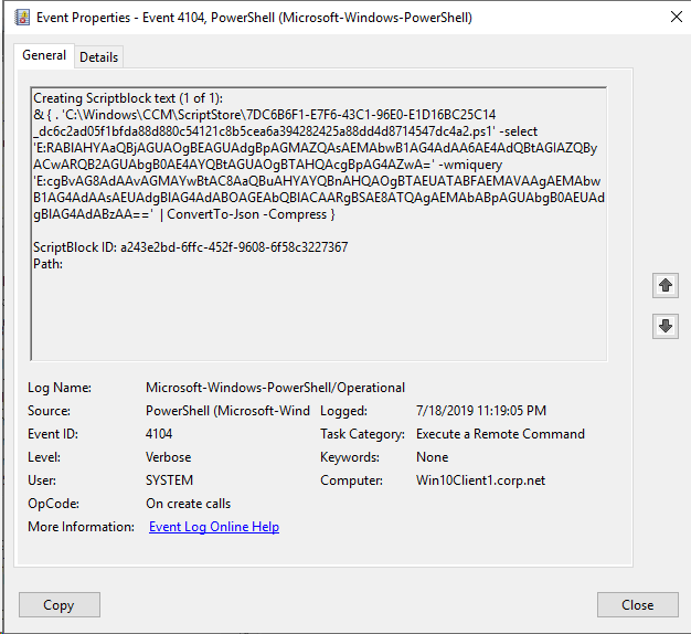 ConfigMgr CMPivot , the PowerShell Script, the Events