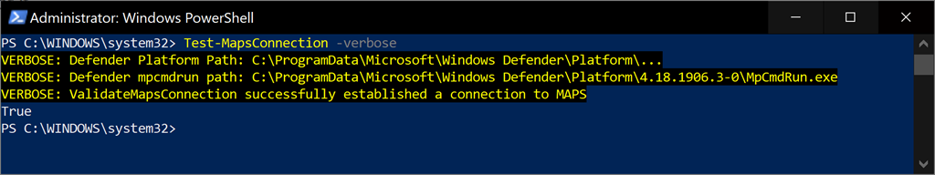 Testing Windows Defender MAPS Connectivity with PowerShell